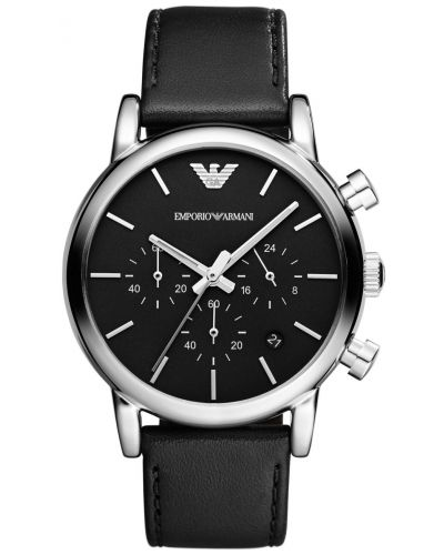 Mens Emporio Armani Classic Black steel chrono AR1733 Watch
