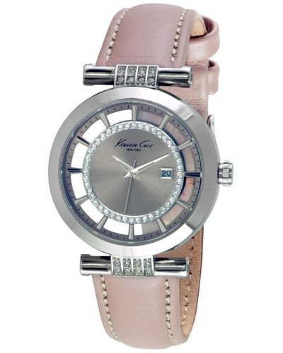 Womens Kenneth Cole Transparent Crystal Set Case on Strap KC10021104 Watch