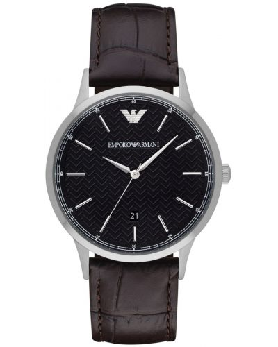 Mens Emporio Armani Classic Date on Brown Strap AR2480 Watch