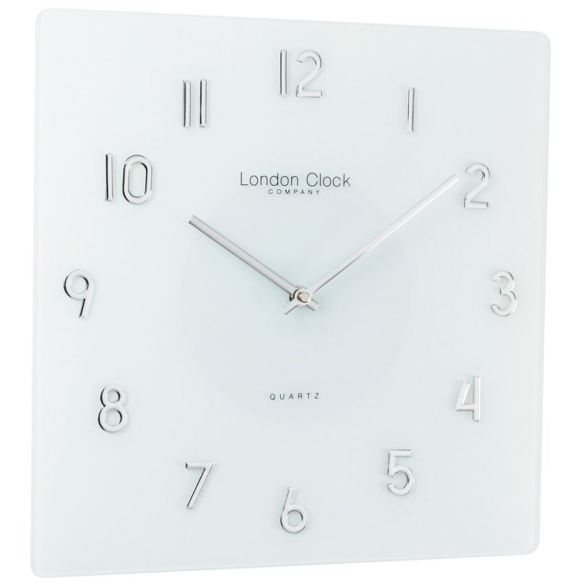 Square White Glass Wall Clock With Raised Chrome Numbers