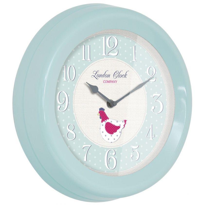 kitchen soft blue metal cased wall clock 24300 buy london