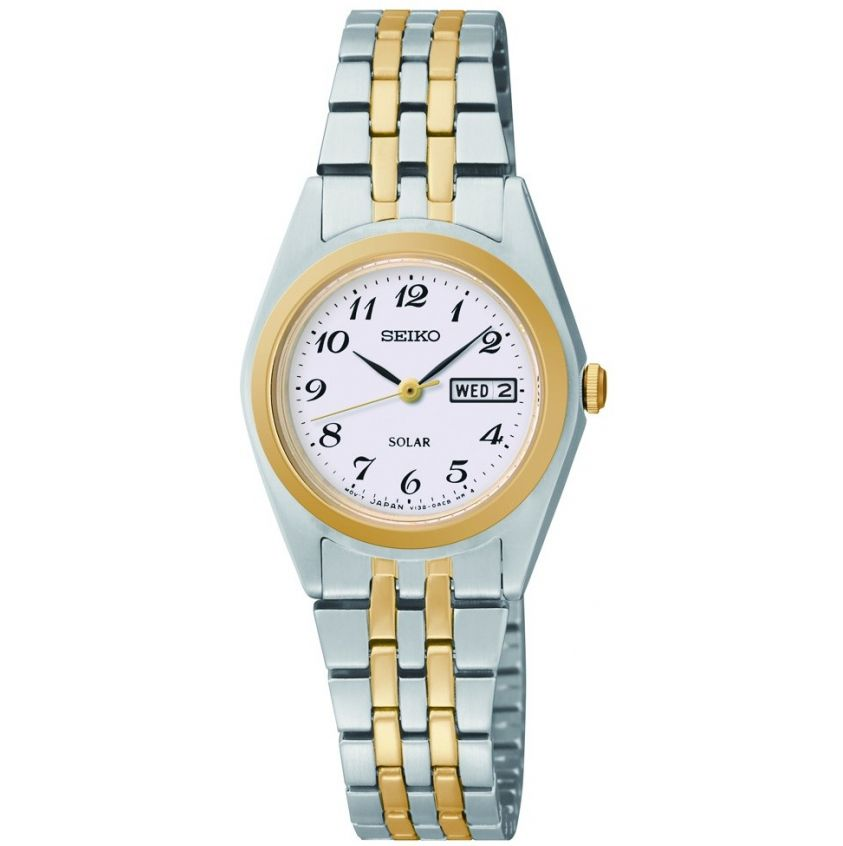 womens seiko solar stainless steel and gold sut116p9