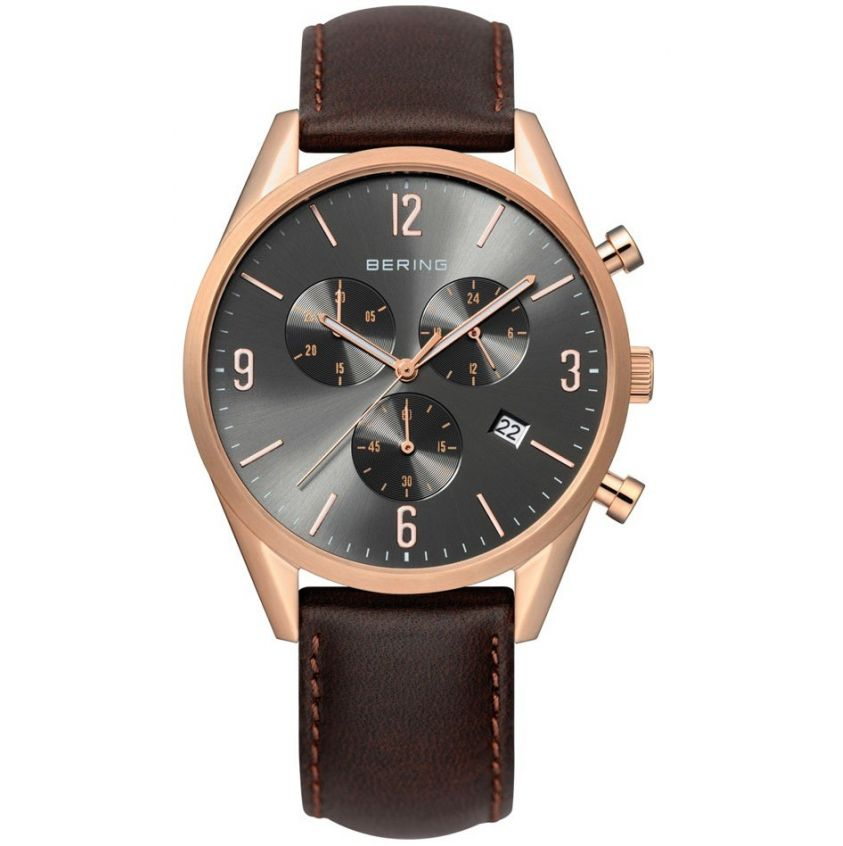 mens bering classic rose gold chrono 10542 562 watch buy. Black Bedroom Furniture Sets. Home Design Ideas
