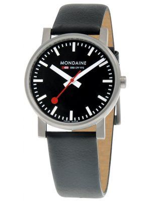 Mens Mondaine Evo Quartz 35mm Black Strap A658.30300.14SBB Watch