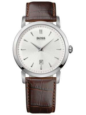 Mens Hugo Boss HB1013 stainless steel brown leather strap 1512636 Watch