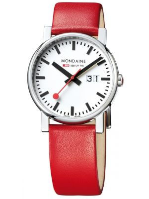 Mens Mondaine Evo Big Red Strap Big Date A627.30303.11SBC Watch