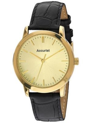 Mens Accurist gold plated black leather strap MS671G.01 Watch