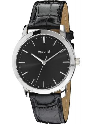 Mens Accurist stainless steel black leather strap MS672B.01 Watch