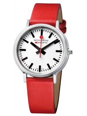 Mens Mondaine stop2go 41mm Red Strap A512.30358.16SBC Watch