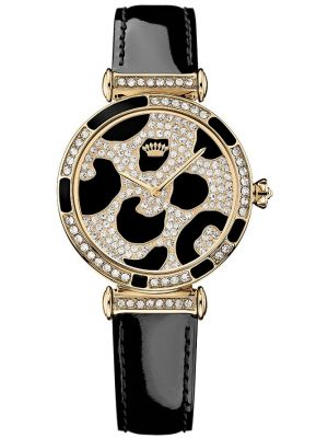Womens Juicy Couture J Couture Crystal set black leather strap 1901170 Watch