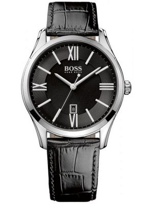 Mens Hugo Boss Ambassador Stainless steel black leather strap 1513022 Watch