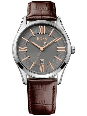 Mens Hugo Boss Ambassador stainless steel brown leather strap 1513041 Watch