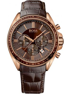 Mens Hugo Boss Driver Sport Chronograph Rose gold leather strap 1513093 Watch