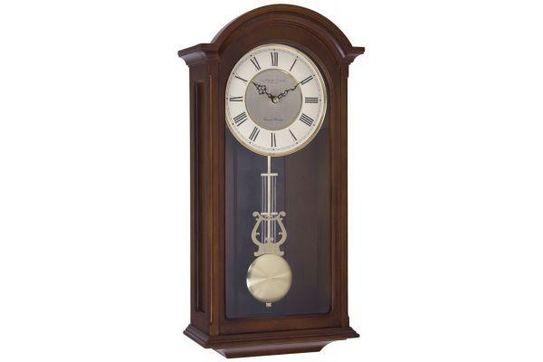 Walnut Wood Finish Traditional Pendulum Wall Clock 24378