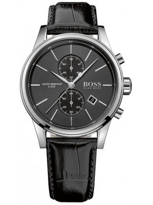 Mens Hugo Boss Jet classic black leather chronograph 1513279 Watch