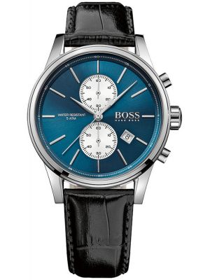 Mens Hugo Boss Jet classic black leather strap 1513283 Watch